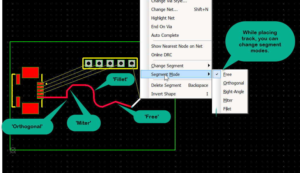 How do I place tracks on my PCB with different features